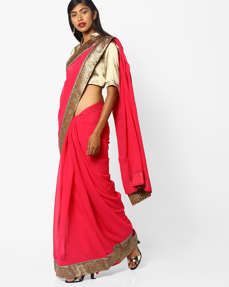 Chiffon Saree With Embroidery By Florence ( Pink )