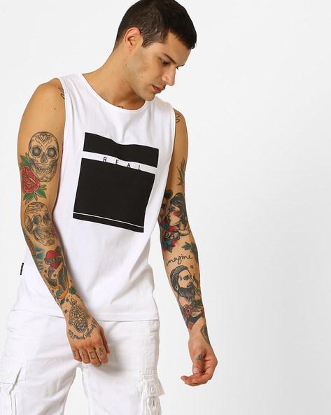 Graphic Print Fashion Vest By Blue Saint ( White )