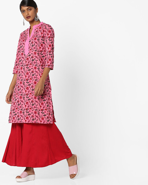 Floral Print Tunic With Notched Band Collar By AJIO ( Pink )