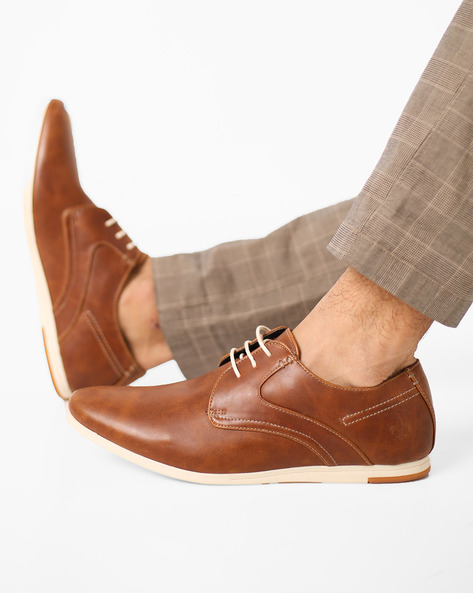 Textured Lace-Up Shoes By Bond Street By Red Tape ( Tan )