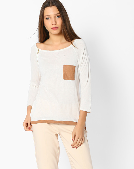 Boat-Neck Top With Zip Detail By Ginger ( Beige )