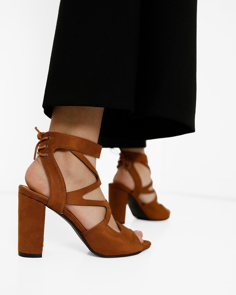 Ankle-Wrap Chunky Heels With Tie-Ups By MFT Couture ( Tan )