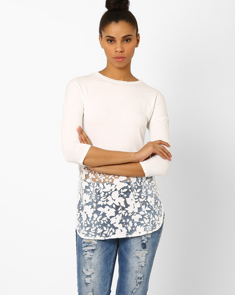 High-Low Top With Floral Panel By Femella ( White )