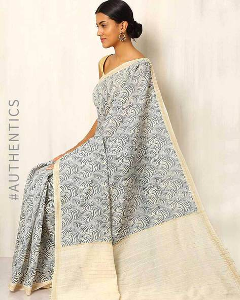 Printed Cotton Silk Saree With Ghicha Pallu By Rudrakaashe-MSU ( Multi ) - 460011247001