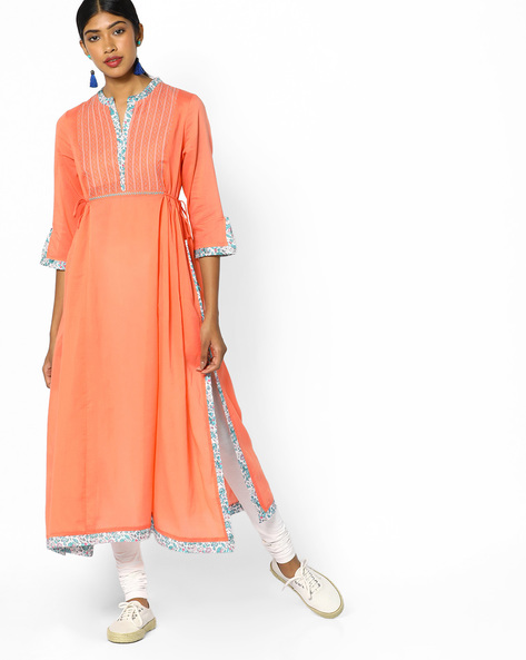 A-line Kurta With Tie-Up By Melange By Lifestyle ( Peach )