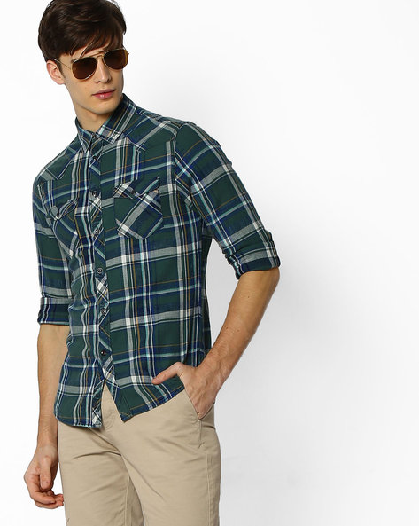 Checked Slim Fit Shirt By Celio ( Green )
