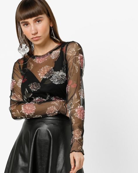 Floral Print Sheer Top By Only ( Black )