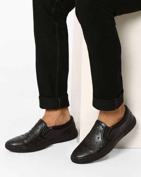 Stud-Embossed Faux-Leather Slip-Ons By AJIO ( Black )