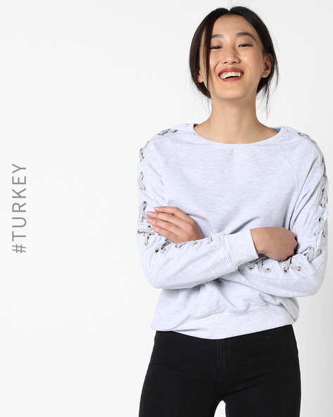 Crew-Neck Sweatshirt With Lace-Up Sleeves By TIFFANY & TOMATO ( Grey )