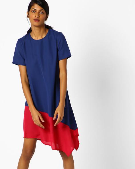 Colourblock Shift Dress With Asymmetrical Hemline By AJIO ( Navyblue )
