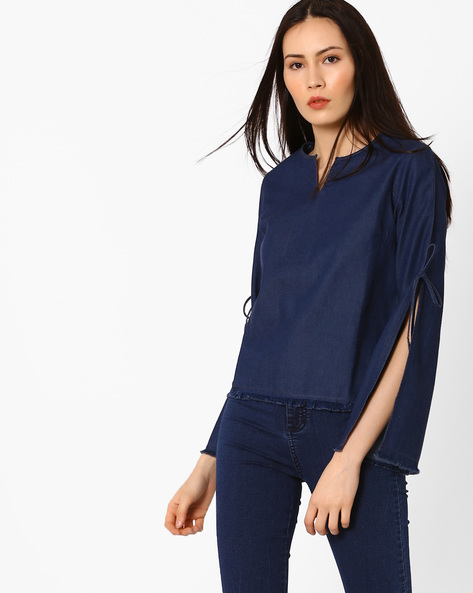 Denim Top With Slit Sleeves By AJIO ( Navyblue )