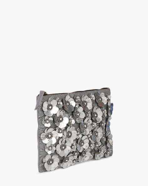 Canvas Clutch With Sequin Embellishments By Project Eve ( Multi )
