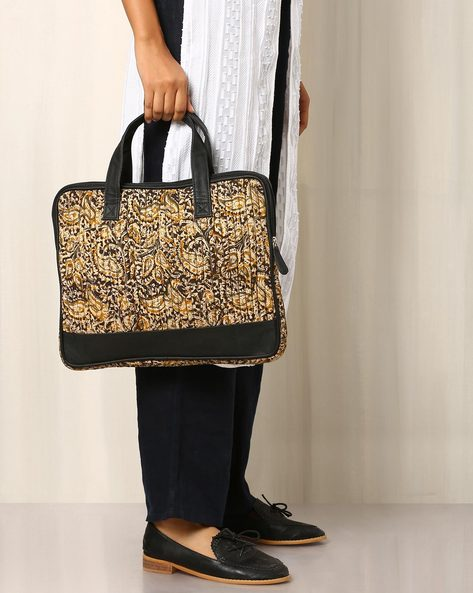 Handblock Print Kalamkari Cotton Laptop Bag By Molcha ( Black )