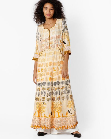 Printed Maxi Dress By Biba ( Offwhite )