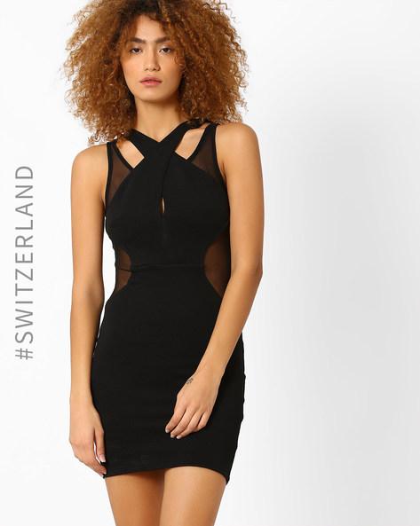 Knitted Cross-Neck Bodycon Dress By TALLY WEiJL ( Black )