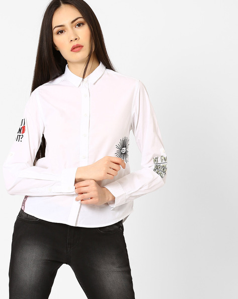 Cotton Shirt With Curved Hem By Pepe Jeans ( Offwhite )