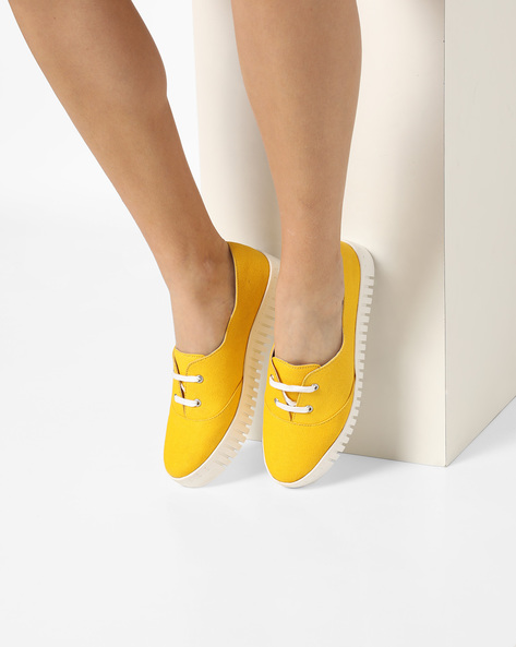 Canvas Heeled Sneakers By AJIO ( Yellow )