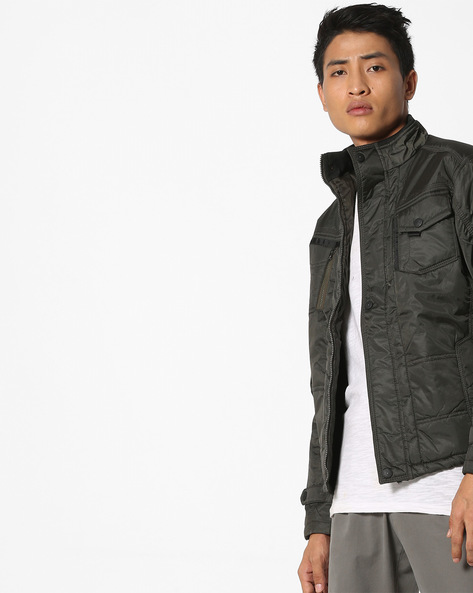 Bomber Jacket With Front Zipper By Fort Collins ( Green )