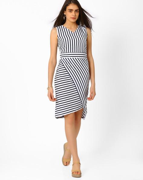Striped Bodycon Wrap Dress By RIDRESS ( Multi )