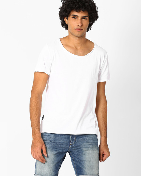 Scoop-Neck T-shirt With By Blue Saint ( White )