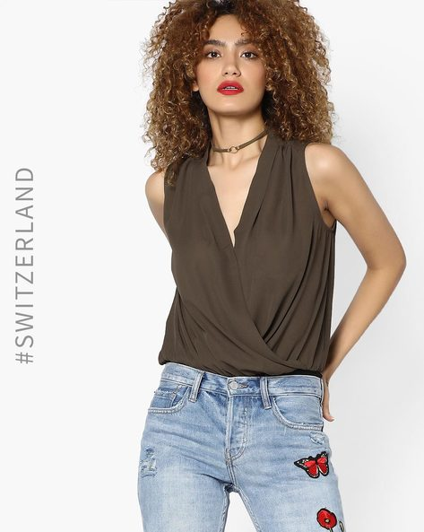 Sleeveless Top With Overlapping Front By TALLY WEiJL ( Olive )