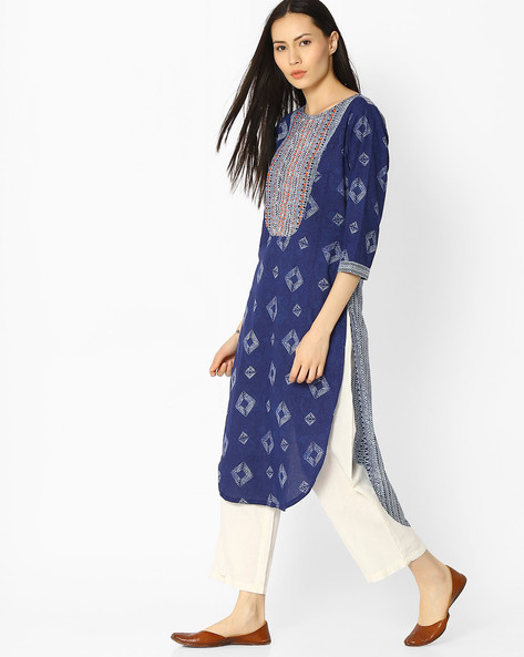 Printed Straight Kurta With Embroidery By Jaipur Kurti ( Indigo )