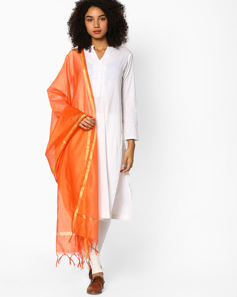 Self-Designed Dupatta With Zari Work By Melange By Lifestyle ( Orange )