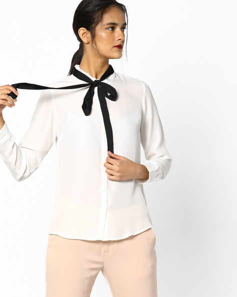 Classic Shirt With Tie-Up By Project Eve WW Work ( White )