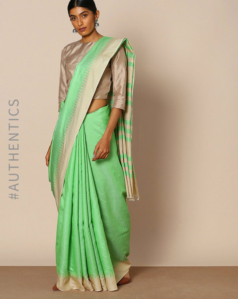 Handloom Pure Silk Muga Temple Border Saree By Indie Picks ( Green )