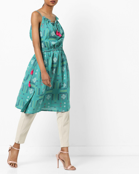 Printed Strappy A-line Dress With Tie-Ups By AJIO ( Teal )