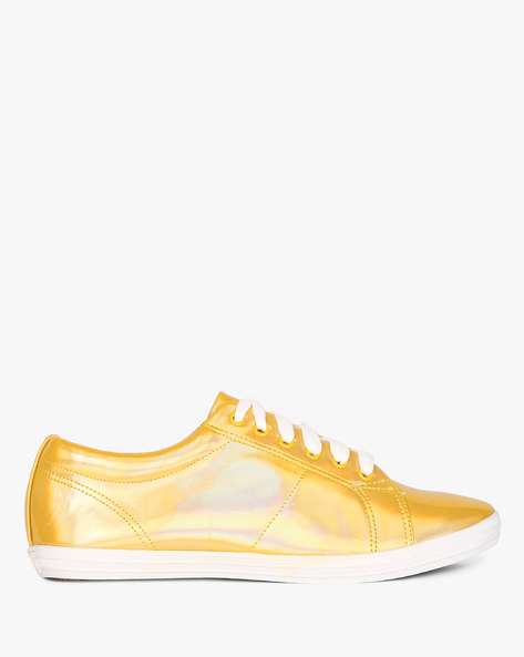 Casual Shoes With Lace-Ups By AJIO ( Gold )