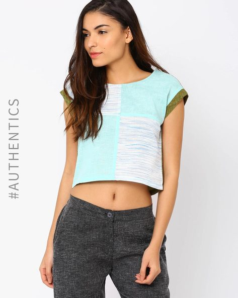Khadi Crop Top By Red Sister Blue ( Olive )