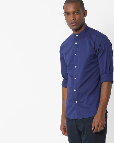 Slim Fit Shirt With Band Collar By Pepe Jeans ( Royalblue )