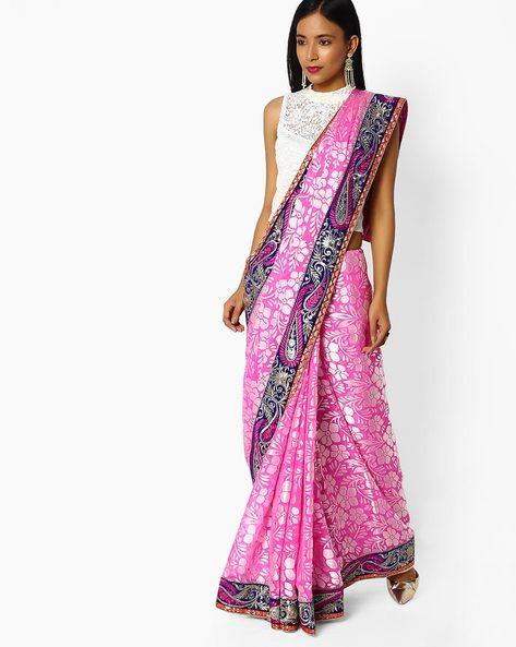 Floral Print Saree With Embroidered Border By Majestic Silk ( Pink )