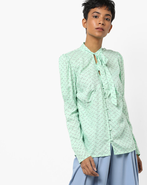 Printed Shirt With Tie-Up By AJIO ( Mint )