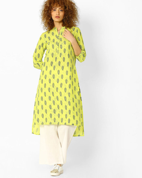 Printed High-Low Kurta By Melange By Lifestyle ( Yellow )