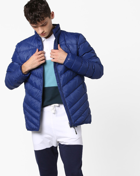 Front-Zip Quilted Jacket By Puma ( Blue )