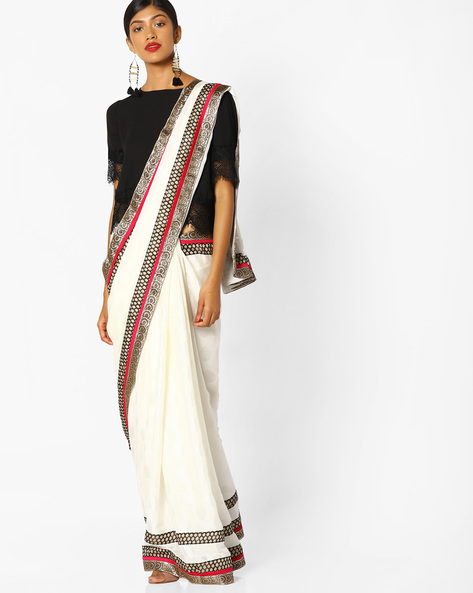 Saree With Contrast Border By Runalaila ( White )