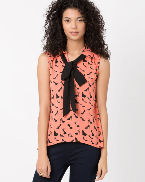 Sleeveless Top With Bow-Tie Collar By Candies By Pantaloons ( Peach )