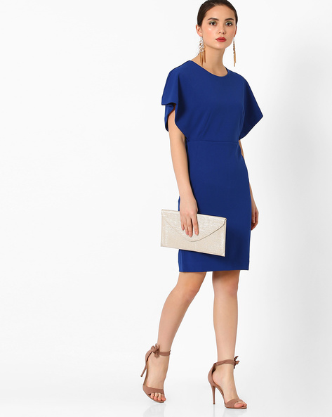 Bodycon Dress With Kaftan Sleeves By AJIO ( Blue )