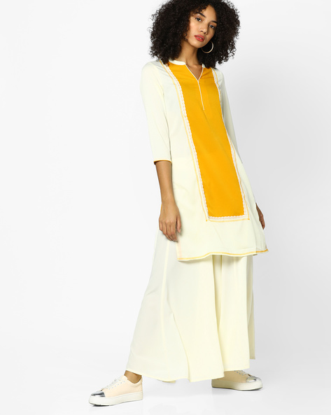 Straight Colourblock Kurta By FUSION BEATS ( Cream )