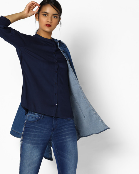 High-Low Shirt With Mandarin Collar By PE WW Work ( Navy )
