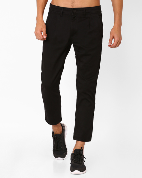 Cropped Denims With Front Pleats By ADAMO LONDON ( Black )