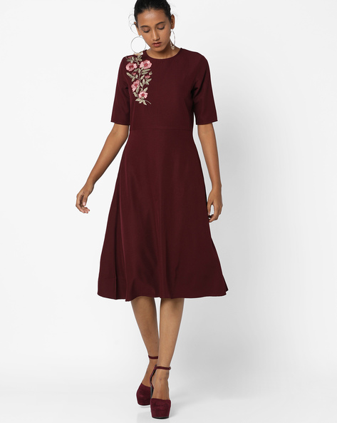 A-line Dress With Floral Embroidery By Femella ( Maroon )