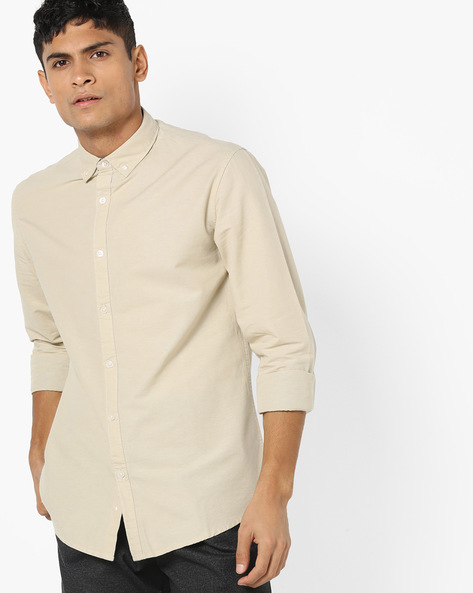 Cotton Shirt With Button-Down Collar By AJIO ( Grey )