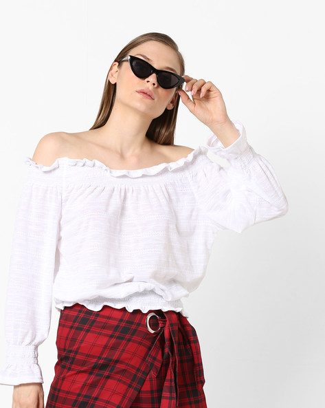Off-Shoulder Top With Bell Sleeves By RIO ( White )