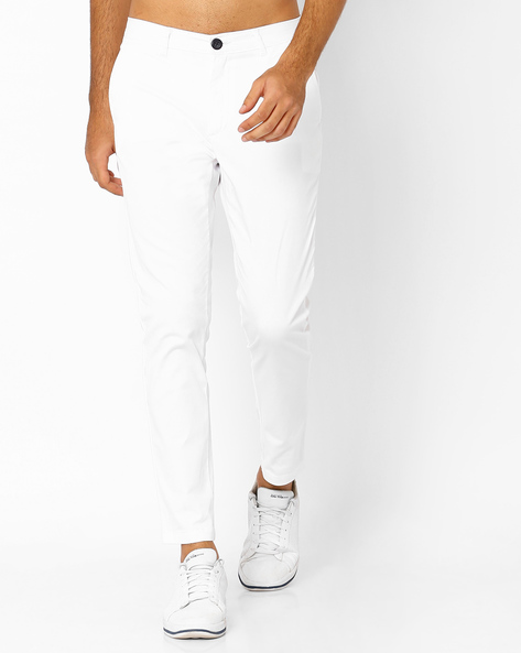 Slim Fit Flat-Front Trousers By ANTIFERRO ( White )