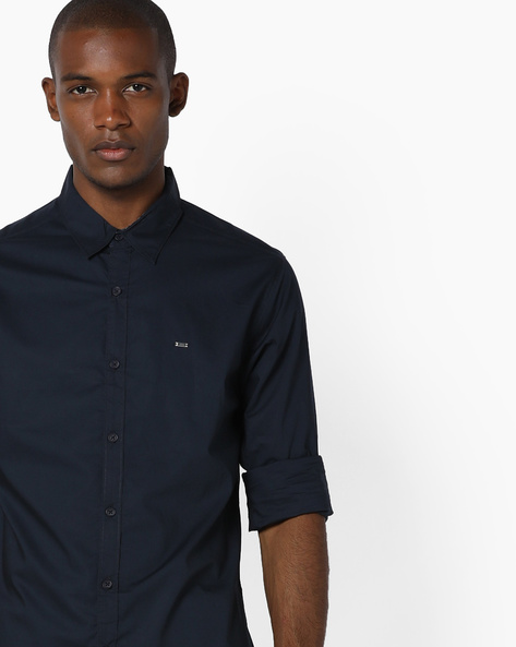 Cotton Slim Fit Shirt By SPYKAR ( Navy )