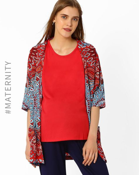 Printed Maternity Shrug By Oxolloxo ( Pink )