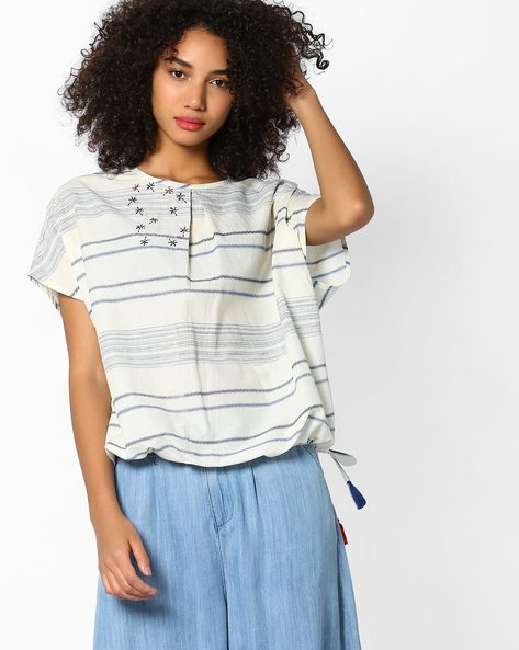 Embroidered Top With Hem Insertion Tie-Up By AJIO ( Offwhite )
